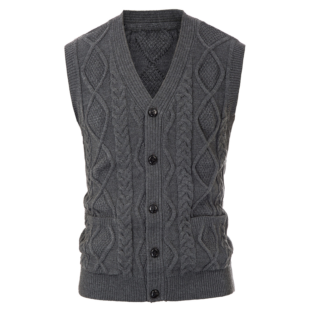 Men's Knitted Vest Cardigan Tops Clothes Autumn Winter Sleeveless Sweater Stylish V-Neck Button Placket Vintage Slim Jumpers