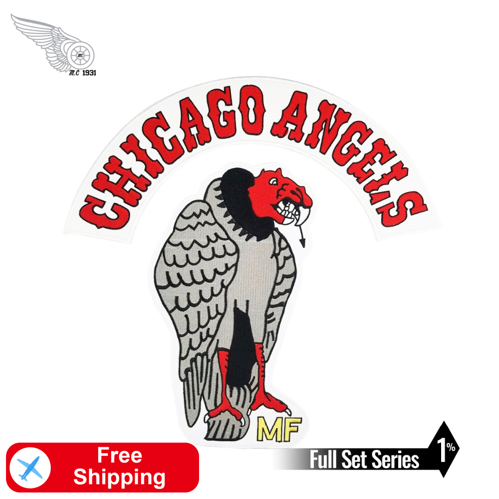 Chicago <font><b>Angels</b></font> Eagles Motorcycle Club Iron on Full Set Accessories Embroidered <font><b>Patches</b></font> for Clothing Applique Rider <font><b>Biker</b></font> Garment image
