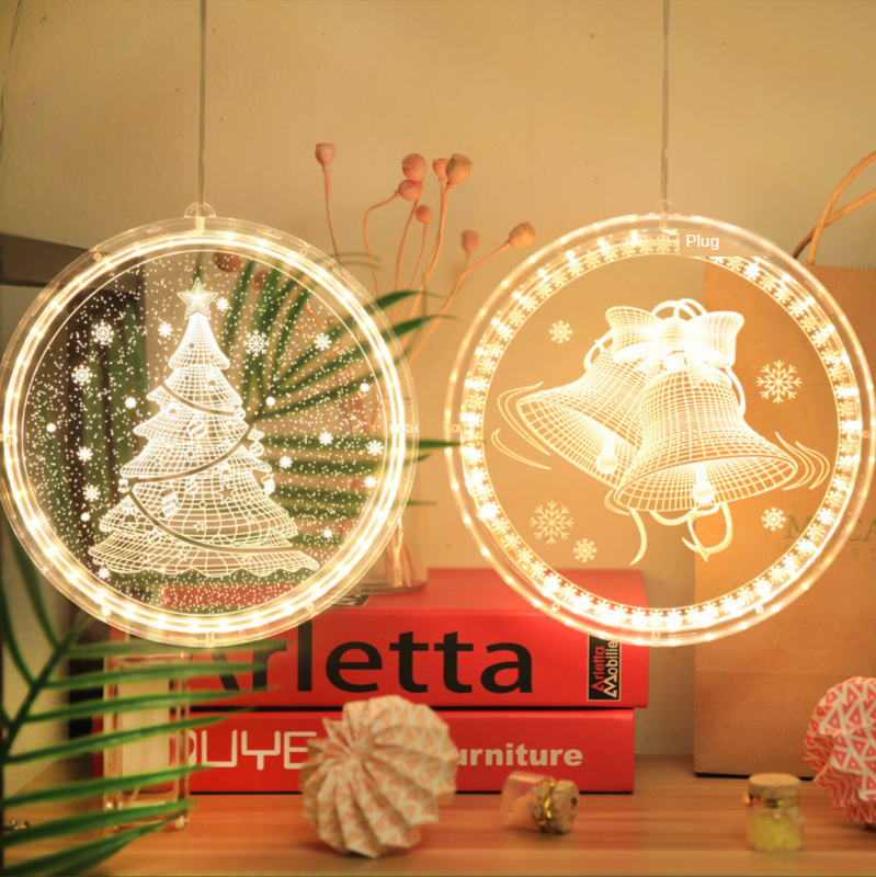 LED Night Light Hanging Fairy Lights Decoration Christmas Lights Round 3D Santa Claus Lamp With Suction For Door Window Holiday|Holiday Lighting| - AliExpress