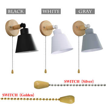Modern Wall Lamps With zip Switch Bedside Wall Light Wall Sconce Nordic For Bedroom Macaroon 3 Color Steering Head E27 85-285V