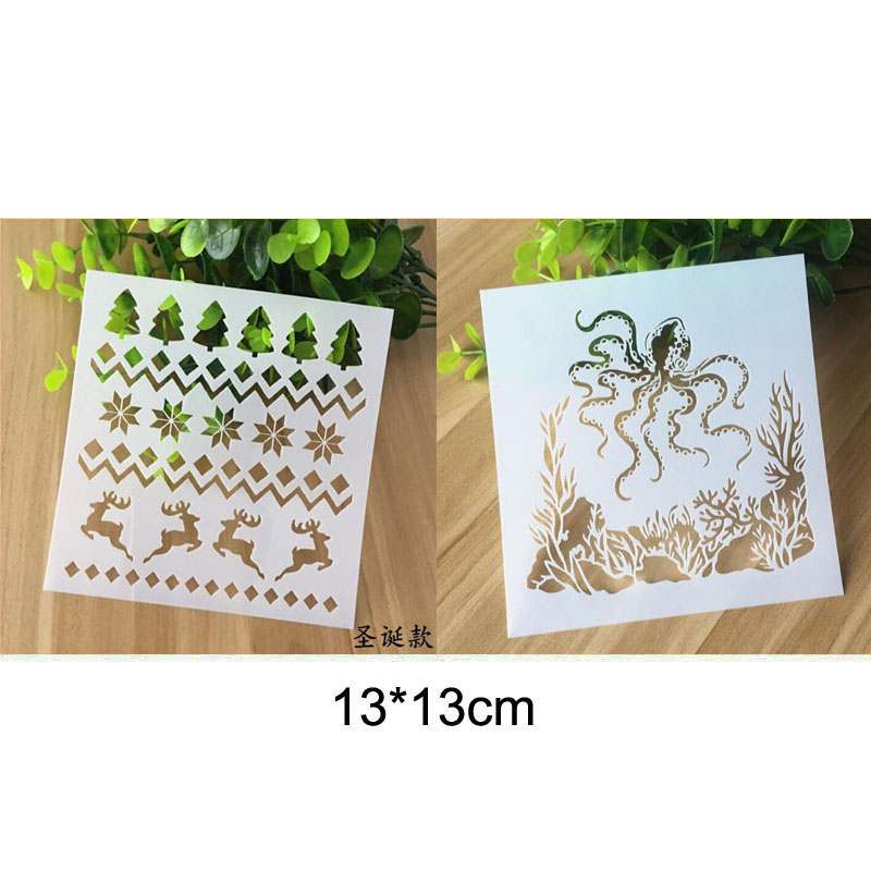 Stencil Reusable Painting Christmas Deer Tree Template Stencils For Painting Wall Scrapbooking Photo Album Embossing Paper Cards