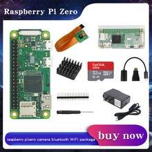 Raspberry pi zero w wh pi0 kit acrílico caso + dissipador de calor encabeçamento gpio + adaptador de alimentação câmera opcional/32gb cartão sd para rpi zero