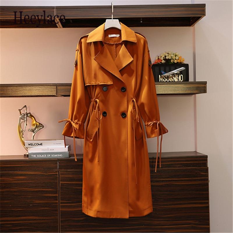 Большие размеры, высококачественный Тренч, длинное женское модное осеннее 2019 одежда в Корейском стиле, Осеннее двубортное пальто для отдыха, 5XL