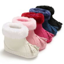 Snow Boots Toddler Baby Girl Shoes Soft Sole Leather Tassels Newborn Kid Babe Winter Warm 5 Color Princess PNK 11-13