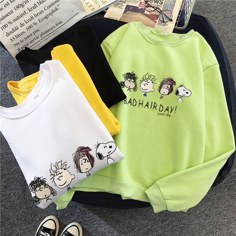 Bad Hair Day Cartoon Hoodies Womens Clothing Oversized Sweatshirt  Top Femme Autumn Winter Cartoon New Harajuku Tee For Female