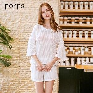 Image 1 - Norns Gold Velvet Pajamas Womens Four Seasons Sleeve Shorts Two piece Home Service Sleepwear Nightwear