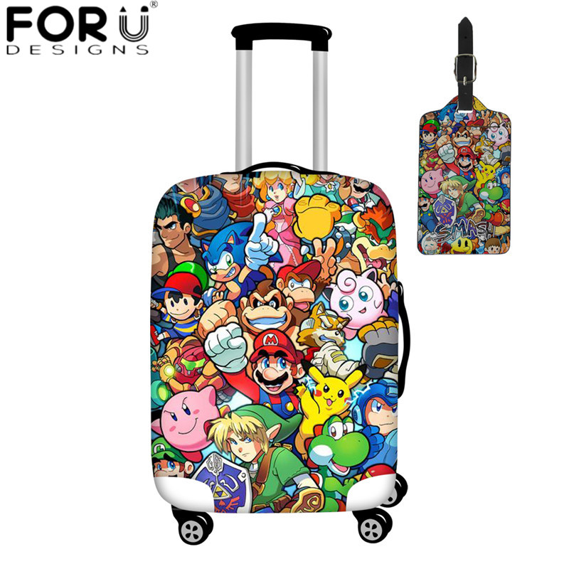 FORUDESIGNS Super Mario Print Travel Suitcase Protective Covers Cute Kids Cartoon Luggage Cover Apply To 18-32 Inch Baggage Case
