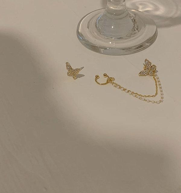 Korean Elegant Cute Rhinestone Butterfly Stud Earrings For Women Girls Fashion Metal Chain Boucle D'oreille Jewelry Gifts 6