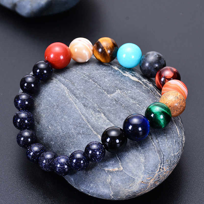 Amoureux huit planètes Bracelet en pierre naturelle univers Yoga Chakra galaxie système solaire Bracelets pour hommes ou femmes bijoux livraison directe