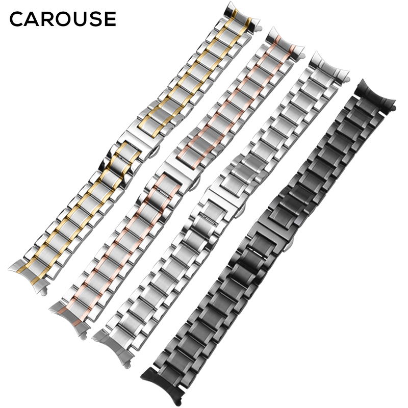 Carouse Edelstahl Strap 13mm 14mm 16mm 18mm 20mm 22mm 24mm Metall Uhr band Link Armband Armband Schwarz Silber Rose Gold