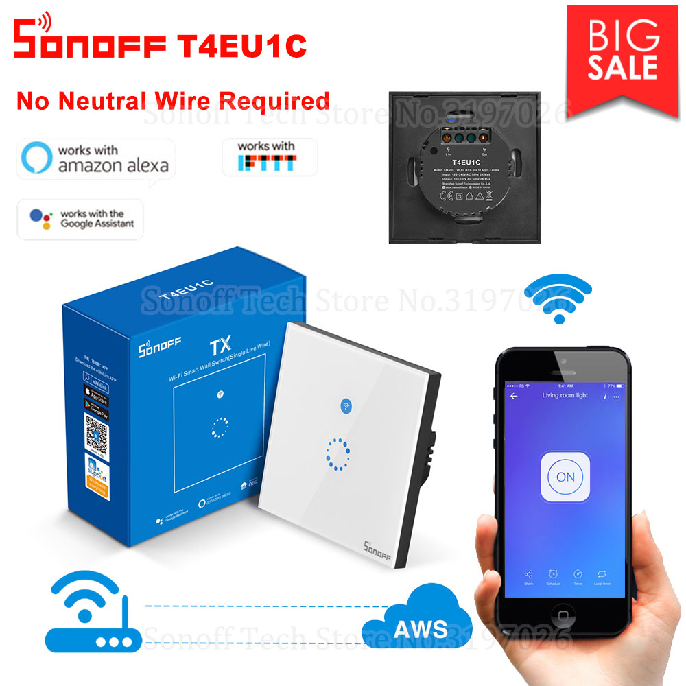 Itead Sonoff T4EU1C Wall Wifi Smart Touch Switch No Neutral Wire Required Operate via eWeLink Support Alexa Google Home IFTTTHome Automation Modules   -