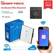 Itead Sonoff T4EU1C настенный Wifi смарт сенсорный выключатель без нейтрального провода требуется эксплуатация через eWeLink поддержка работать с Алиса Alexa Google Home IFTTT