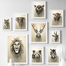 Deer Fox Bear Lion Raccoon Animal Vintage Nordic Posters And Prints Wall Art Canvas Painting Pictures For Living Room Decor