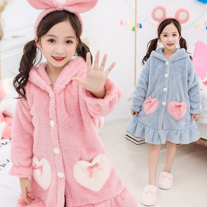Bath Robe For Children Girls Winter Baby Girl Clothes Flannel Hooded Pajama Soft Comfortable Fleece Bathrobes Kids Dressing Gown