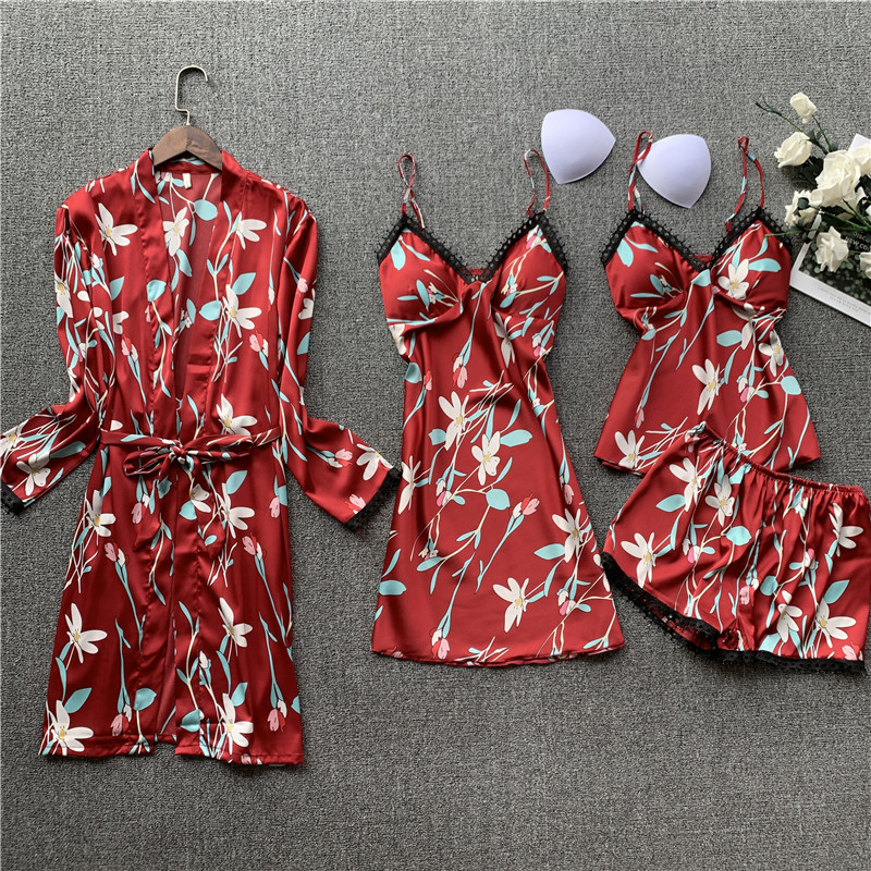 Daeyard Satin Pajama Sets Lounge Wear 4 Pieces Sleepwear Sexy Lace Pajama Women's Summer Pijama Floral Print Pyjama Home Clothes