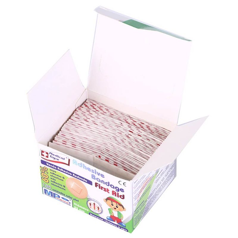 100Pcs/Box 22mm Ultra-Thin Child Kids First Aid Emergency Bandage Mini Round Adhesive Wound Plaster Medical Hemostasis Stickers