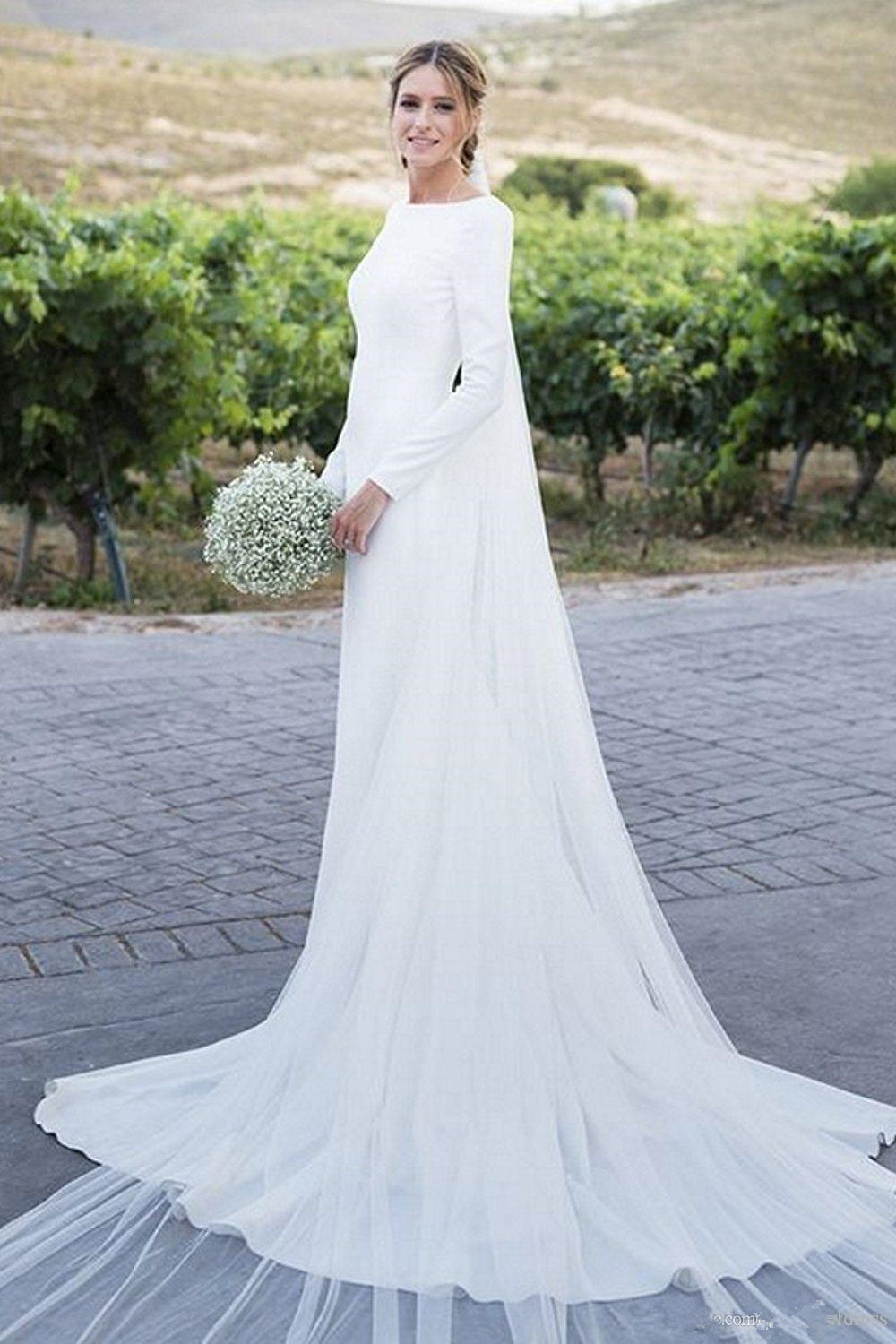 2020 Modest Long Sleeves Bohemia Sheath Wedding Dresses Back Zipper Sweep Train Wedding Bridal Gowns Custom Made