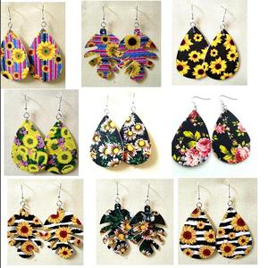 Image 4 - 30pairs lot Christmas Gift boho Style PU leather glitter sparkly Oval Earrings Fashion Dangle Earrings for Women