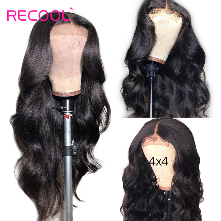 Recool Closure Wig Lace-Wig Remy-Hair Body-Wave 4x4 With Baby Brazilian Pre-Plucked