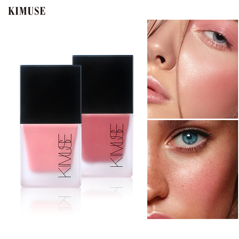 KIMUSE Liquid Blusher 4 Colors Face Makeup Lasting Natural Silky Cheek Rouge Rose Peach Tea Color Shimmer Blush Cream Cosmetics