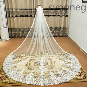 new Hot White/Ivory Beautiful Cathedral Length Lace Edge Wedding Veil With Comb Long Bridal Mariage plus size