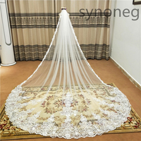 new Hot White/Ivory Beautiful Cathedral Length Lace Edge Wedding Veil With Comb Long Bridal Veil Mariage plus size