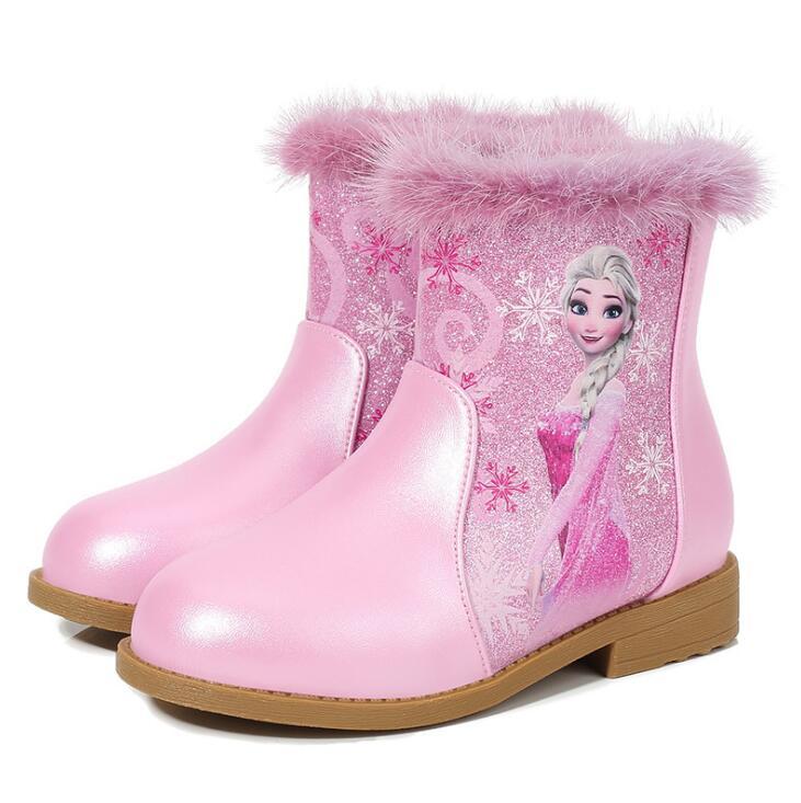 Anne ve Çocuk'ten Botlar'de 2020 yeni kış kız çizmeler ile kürk moda prenses parti çizmeler kızlar için çocuklar su geçirmez kar botları Elsa ayakkabı title=