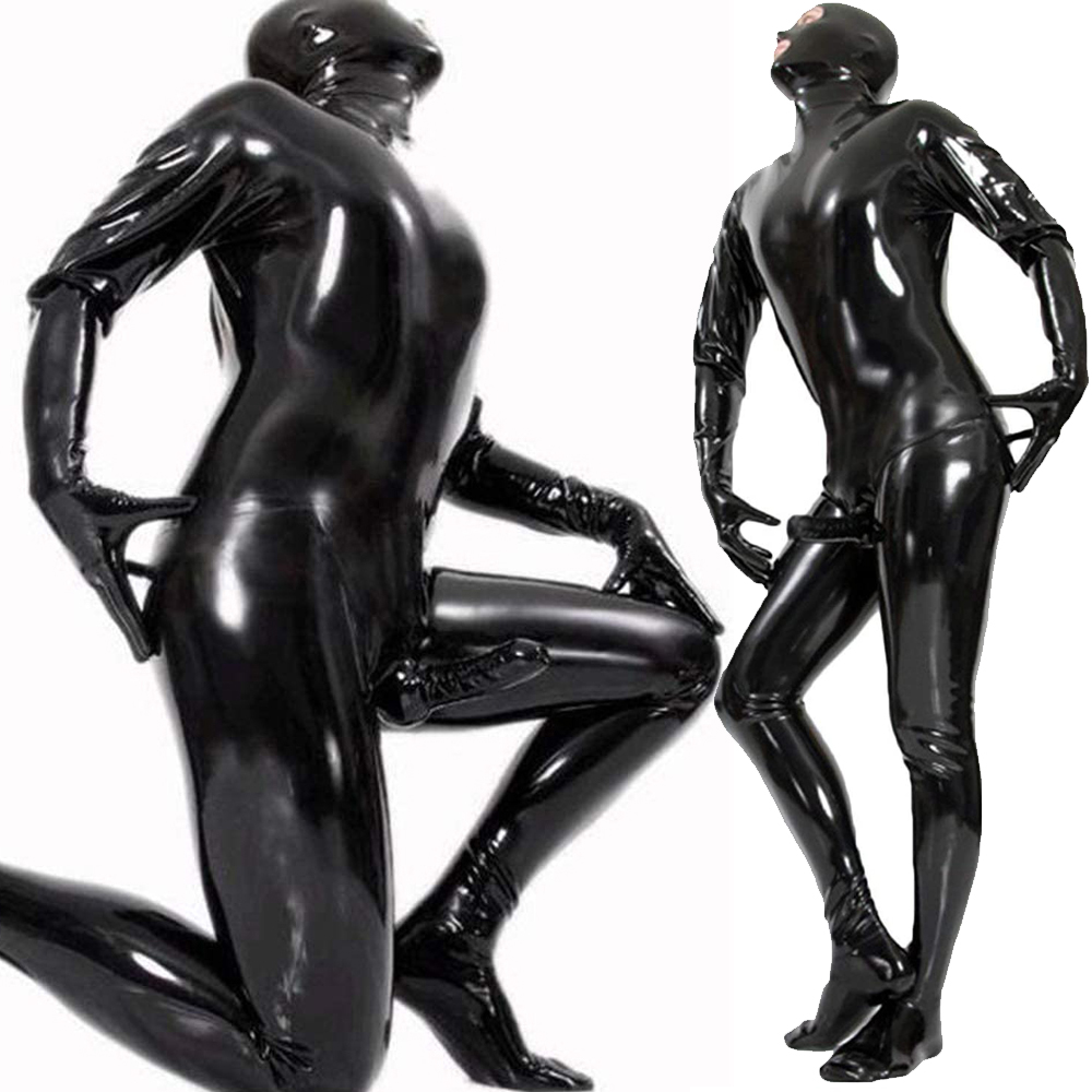 Men's Stretch PVC Bodysuit With Penis Sleeves Sexy Open Eye PVC Wetlook Leather Latex Catsuit Hot Erotic Gay Fetish Wear Costume