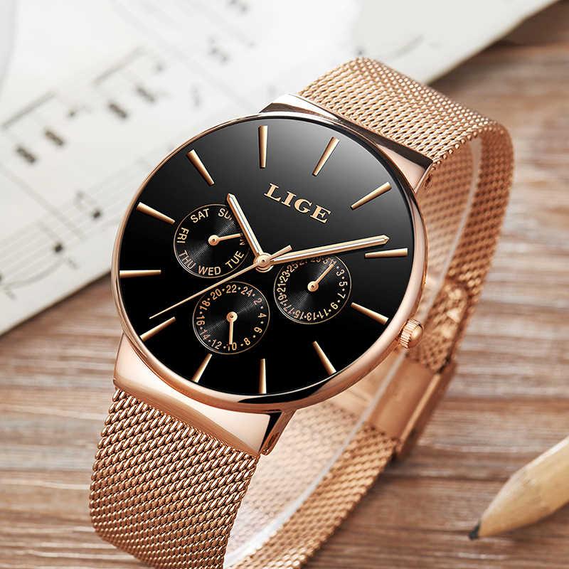 LIGE นาฬิกาข้อมือยี่ห้อควอตซ์สุภาพสตรีนาฬิกากันน้ำนาฬิกาของขวัญนาฬิกา relogio Feminino