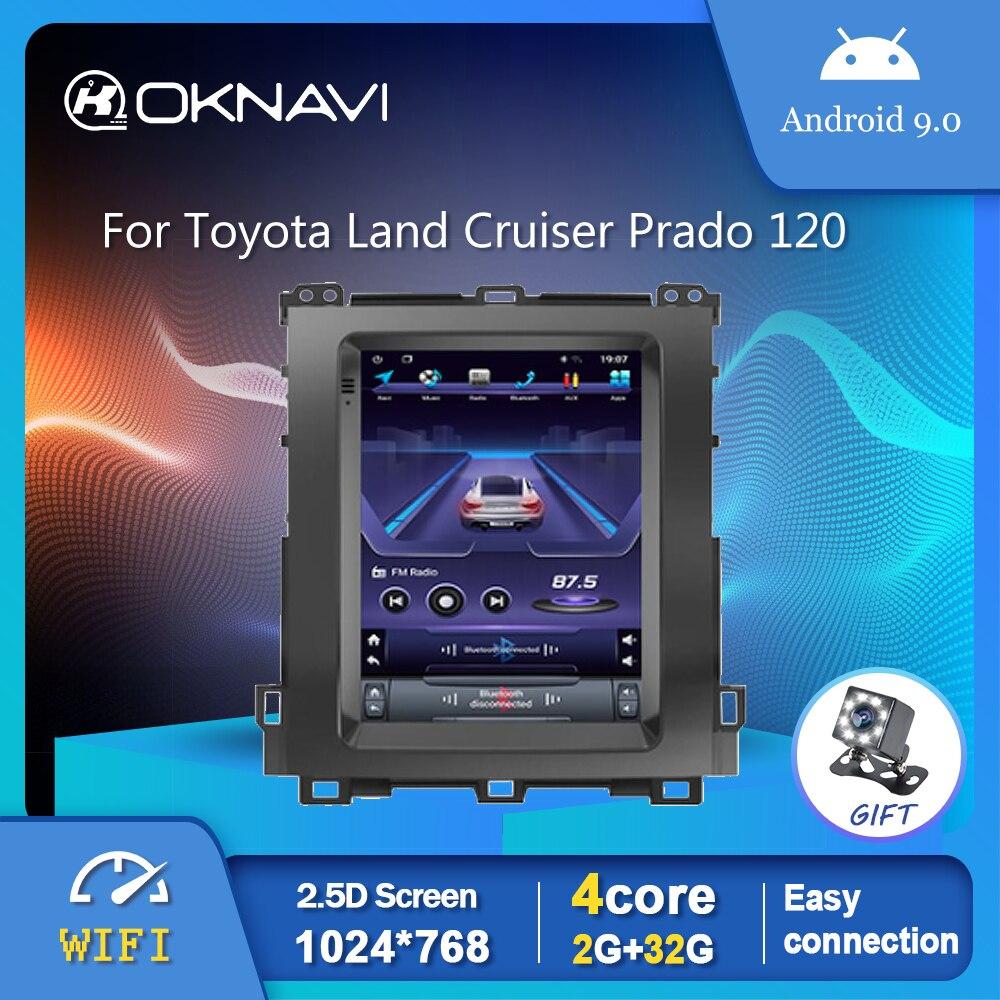 Автомобильный радиоплеер в стиле Tesla для Toyota Land Cruiser Prado 120 2002-2009, GPS, стерео, Android 9,0, OBD, заднего вида, № 2 din, DVD 9,7