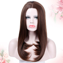 WEILAI Long straight hair parted in the middle. Brown Tail curl Synthetic