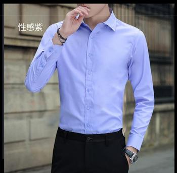 2020 NEW  men's cotton  linen shirt Slim solid color linen shirt large size men's shirt kw999-01-kw999-08