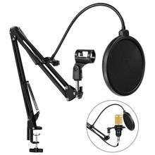 Soporte de brazo de suspensión ajustable para micrófono bm 800, abrazadera de montaje de mesa con filtro Pop para micrófono bm800