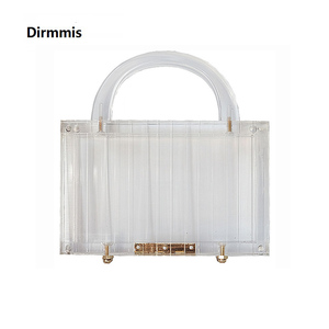 Image 1 - 新しい流行ハンドバッグブランドファッション女性のハンドバッグ透明アクリル高級パーティーウエディングイブニングバッグの女性のカジュアルボックス明確なクラッチ