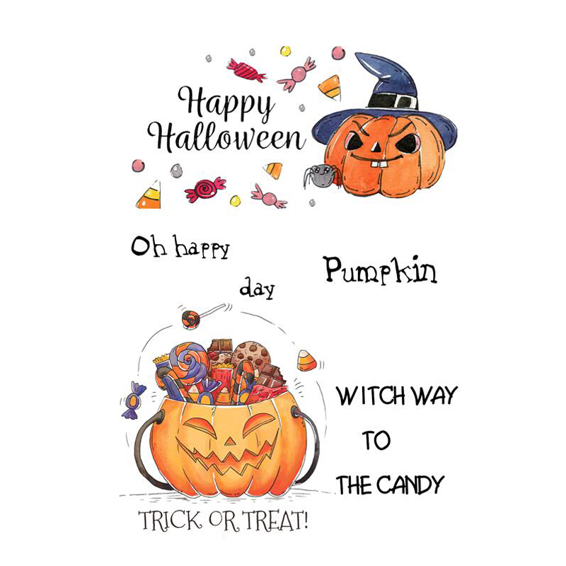 AZSG Happy Halloween Candy Pumpkin Head Clear Stamps Seals For Scrapbooking DIY Clip Art Album Decoration Stamps Crafts in Stamps from Home Garden