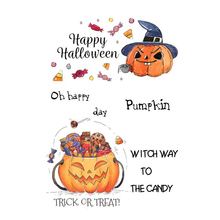 AZSG Happy Halloween Candy Pumpkin Head Clear Stamps/Seals For Scrapbooking DIY Clip Art / Album Decoration  Stamps Crafts