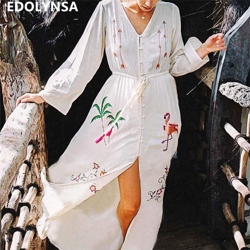 Bohemian Embroidered Button Front Open Cotton Tunic Women Summer Beach Dress Plus Size Long Sleeve V-neck Belted Long Dress N640 outfits para playa mujer 2019