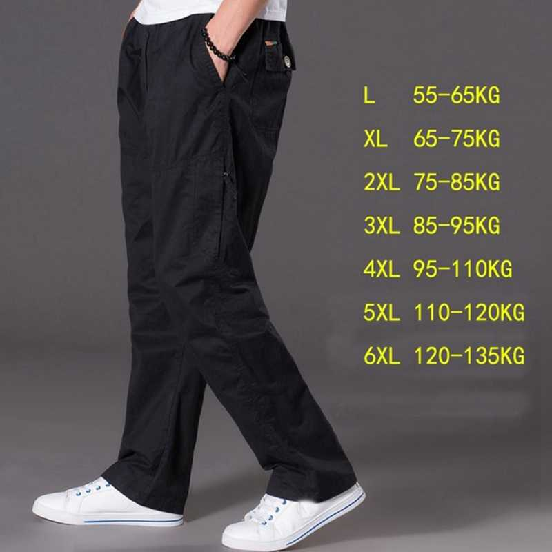 Весна-осень повседневные штаны мужские большие размеры 6XL мульти карман джинсов oversize Штаны комбинезоны штаны с эластичной резинкой на талии большие размеры для мужчин
