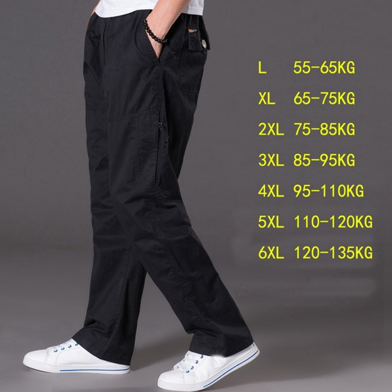 Image 2 - spring summer casual pants male big size 6XL Multi Pocket Jeans oversize Pants overalls elastic waist pants plus size men-in Cargo Pants from Men's Clothing
