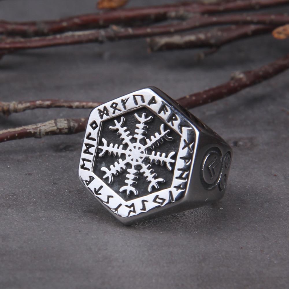 Viking Compass Vegvisir Aegishjalmur Runic эффектное мужское винтажное скандинавский Викинг Тотем один байкерские кольца ювелирные изделия|Кольца|   | АлиЭкспресс