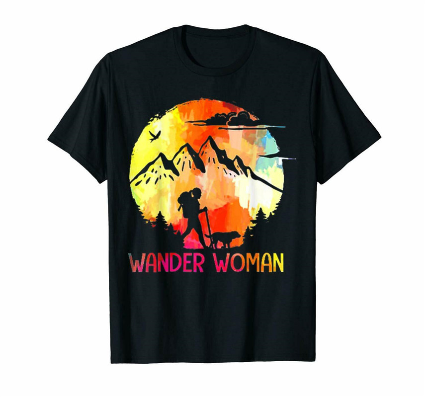 Wander Women Hiking With Dog Sunset Black T-Shirt For Dog Lovers S-5XL Vintage Tee Tshirt
