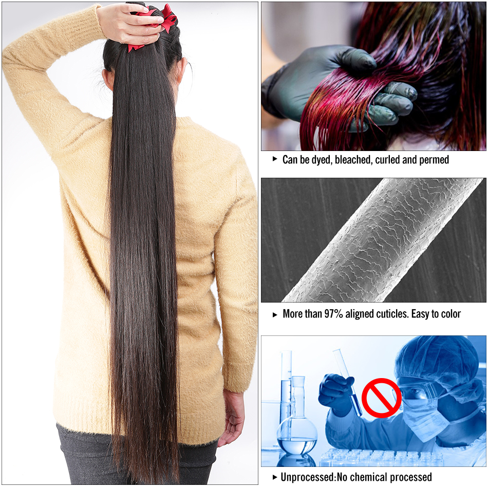 Wigirl Straight 28 30 32 40 Inch     Bundles Natural Color 100%   3