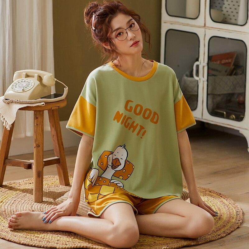 BZEL Cartoon Print Pyjamas Women Cotton Pajama Set Women's Summer Casual Short Sleeve Sleepwear Cute Fresh Girls Home Nightwear