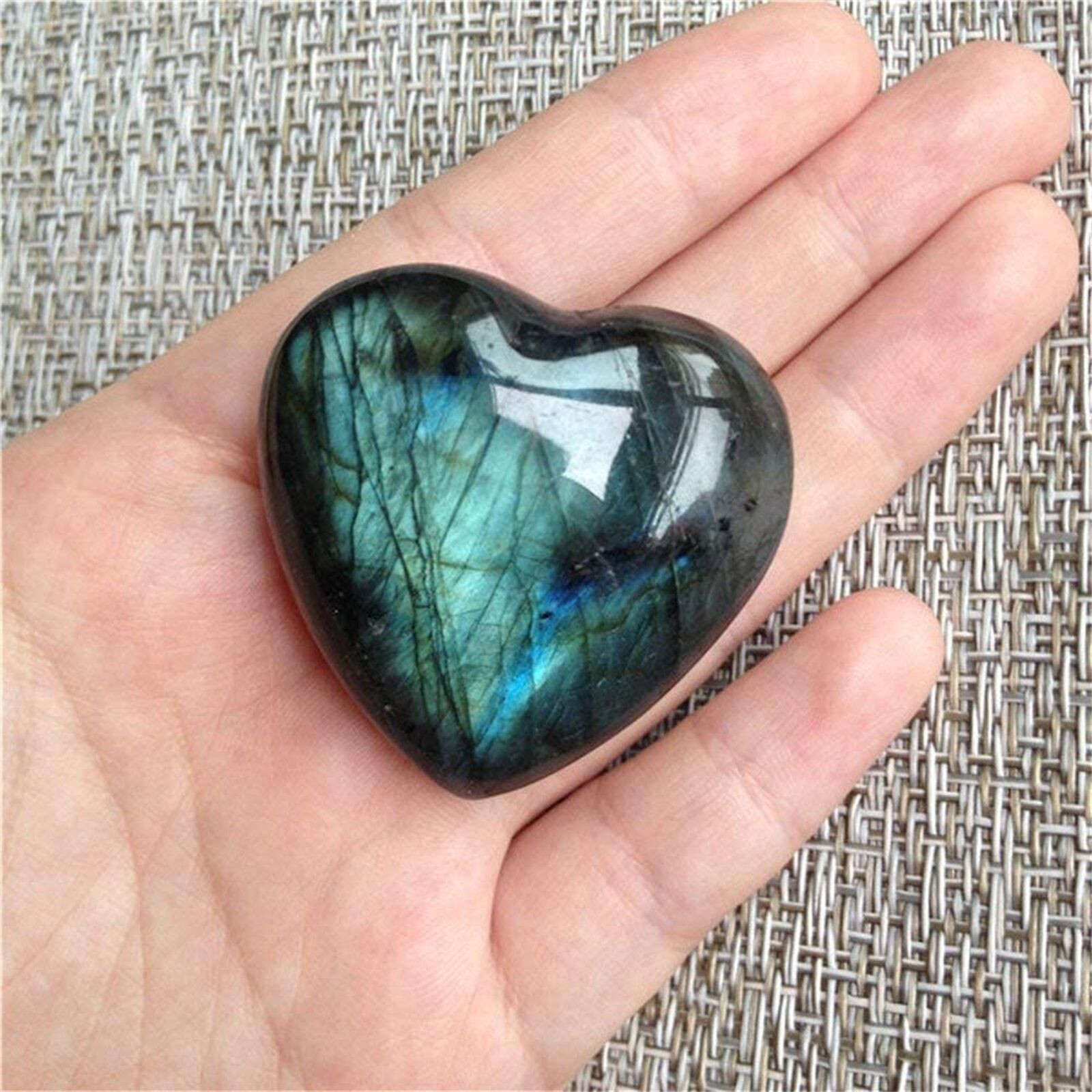 С украшением в виде кристаллов Лабрадорит Пальмовая камень кварц для лечения драгоценный камень Беспокоиться Камень Сердце Форма