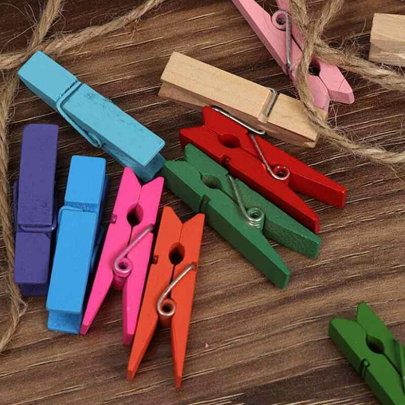 10pcs Colore Primario/Colore Della Miscela Della Clip FAI DA TE 3.5 centimetri di Clip + 2m di Corda di Canapa Decorativa Clip di Foto cucito cornice Clip di Accessori