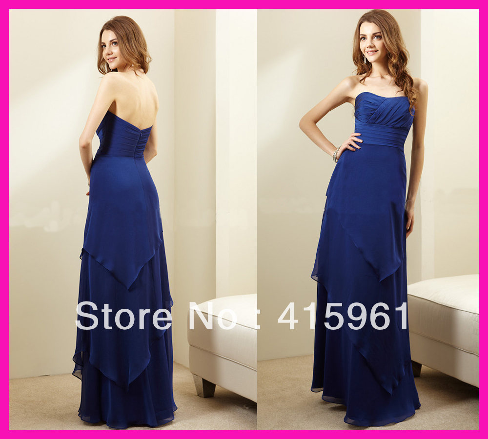 2019 Royal Blue Strapless Tiered Sweetheart Chiffon Long Bridesmaid Dresses Party Prom Dress For Wedding Party Vestido Madrinha
