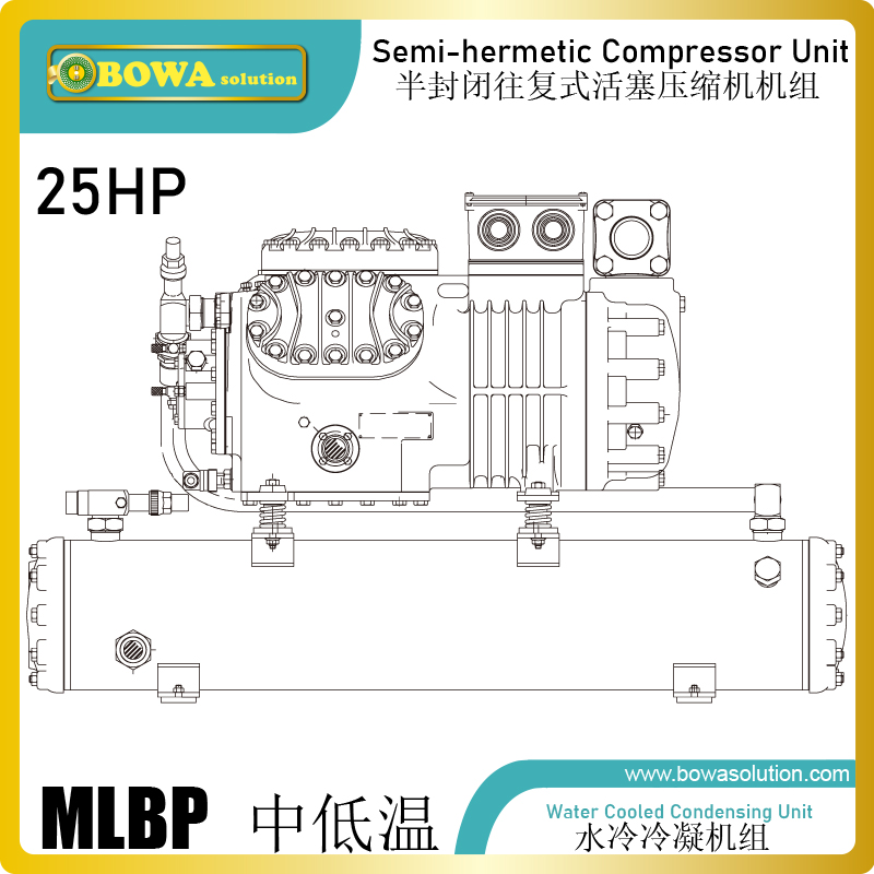 condensing unit schematic 25hp mlbp condensing unit with piston compressor and water cooled  25hp mlbp condensing unit with piston