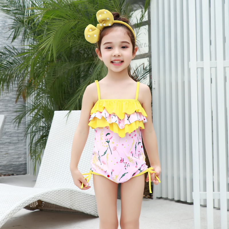2018 New Style One-piece One-Piece Flounced Camisole Backless Hipster Briefs Female Baby KID'S Swimwear
