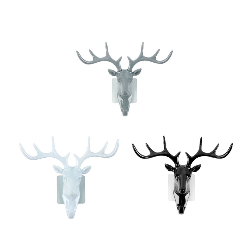 2019 New Useful Vintage <font><b>Deer</b></font> head Animal Clothes <font><b>Hanger</b></font> Wall Mounted Hook Home Door Decoration Antler Hook image