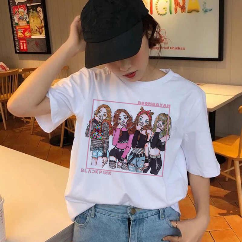 Blackpink gráfico coreano t camisa das mulheres do sexo feminino femme t-shirt camiseta top tee camisas de verão hip hop streetwear harajuku 90s kawaii